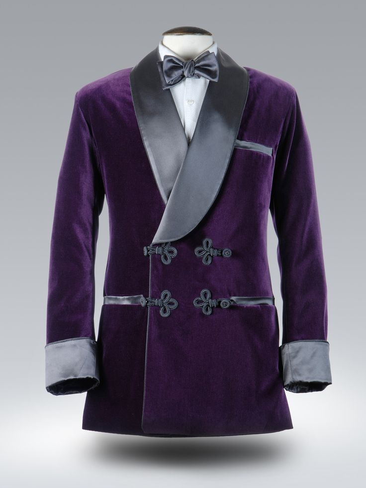 Royal purple velvet smoking jacket with passementerie