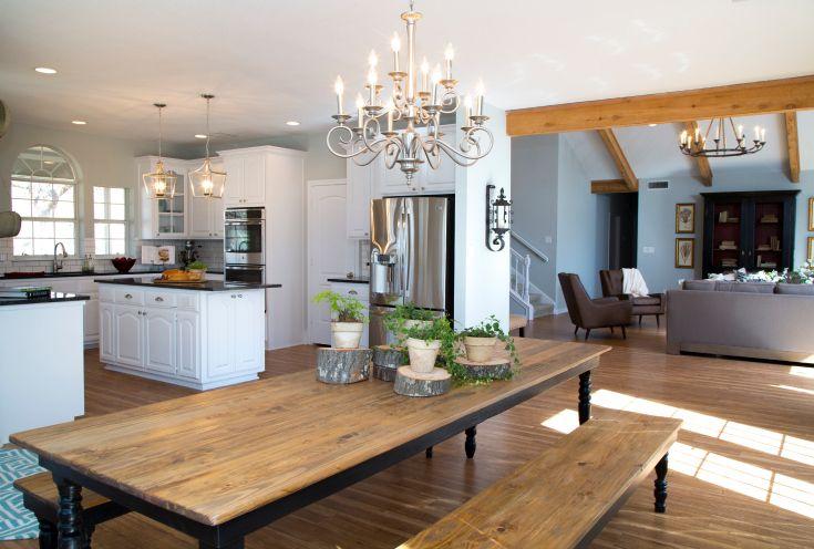 As seen on HGTVs Fixer Upper  Long farmhouse dining room