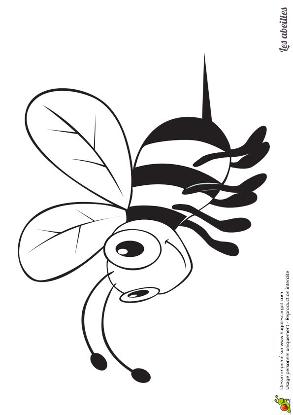 Une abeille en plein vol, belle illustration à colorier