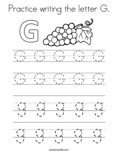 Practice Writing The Letter G Coloring Page Twisty