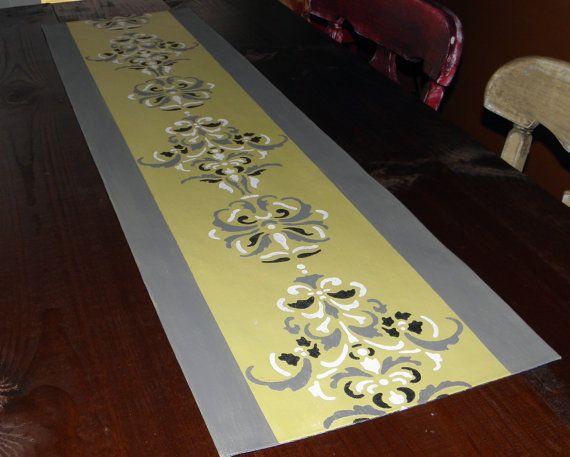 Table Runner Yellow Gray White Black Elegant Scroll By