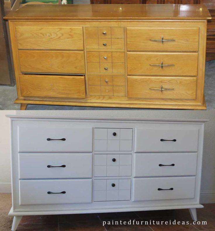 Small Mid Century Dresser Painted White  Dresser refinish and Dresser