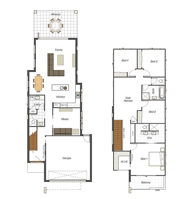 7 Best Images About Modern Minimalist Narrow Home Plans On