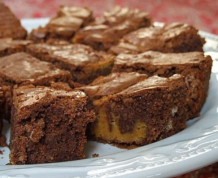 Chocolate Pumpkin Brownies, supposedly adapted from a weight watcher's recipe, w