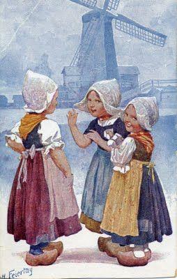 Traditional Dutch Dress On Vintage Post Card Vintage