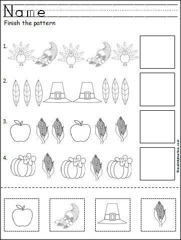 Thanksgiving, Fine motor and Worksheets for kindergarten