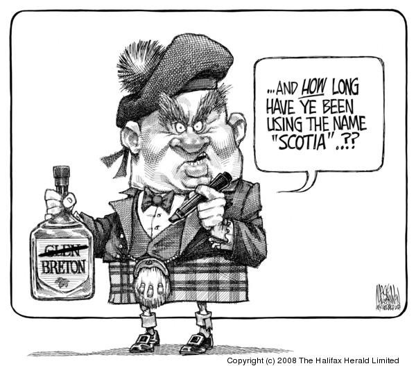 Bruce MacKinnon cartoon about Glen Breton and their