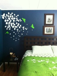 Dark blue bedroom with bright green accents Wall color ...