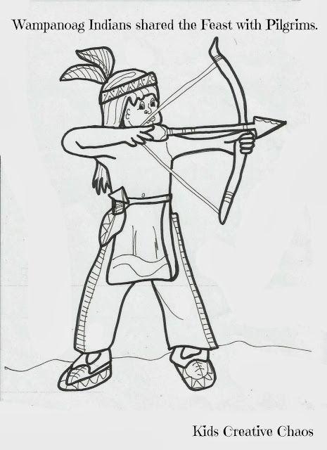 Coloring Sheets for Thanksgiving: Pilgrim with Turkey and