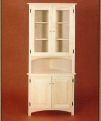 AMISH Unfinished Solid Pine CORNER HUTCH China Cabinet ...