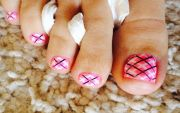 diy champagne pink plaid nail design