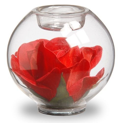 Candle Holder With Rose 4 Glass Jar Container Red 4 Piece