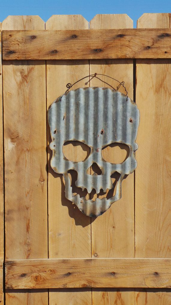 Upcycled old Corrugated Metal Skull by RockinBTradingCo on Etsy, $25.00
