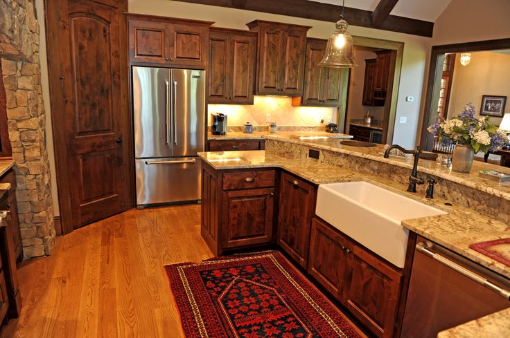 Custom Cabinets West Lake door style in Knotty Alder