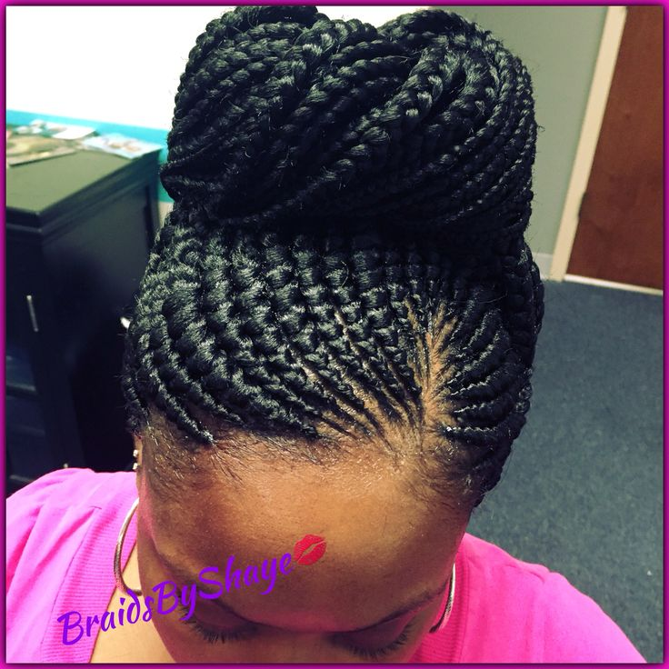 Small braid Ghana bun
