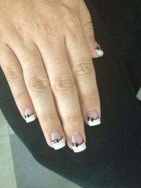 Bow tie design nail art. French tip. Classy look! Possibly ...