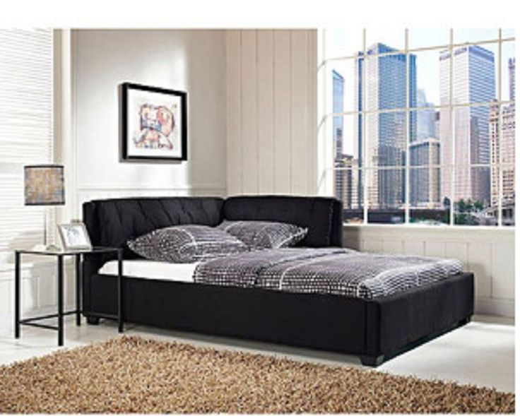 Full Size Modern Black Daybed Lounge Reversible Sofa Bed