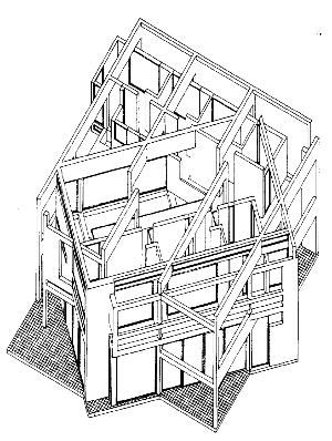 axonometric view Peter Eisenman, House III, 1971