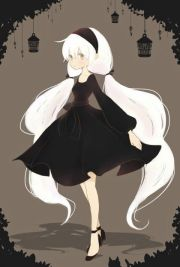 white hair black dress and headband