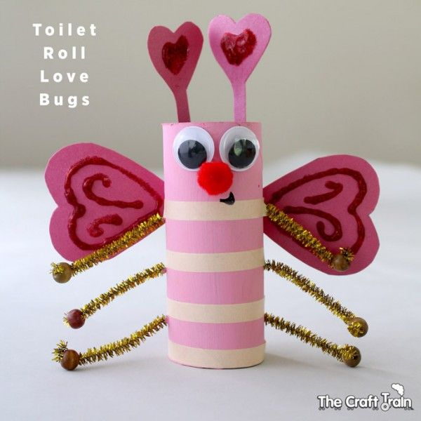 Toilet Roll Love Bugs for Valentine's Day – cute Valentine's day craft with paper roll!