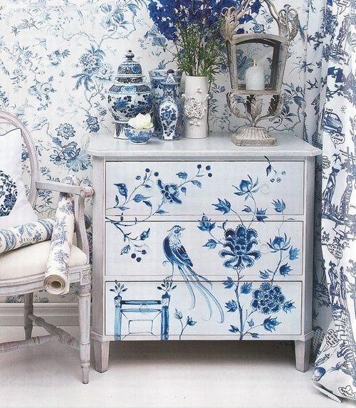 painted furniture | blue and white