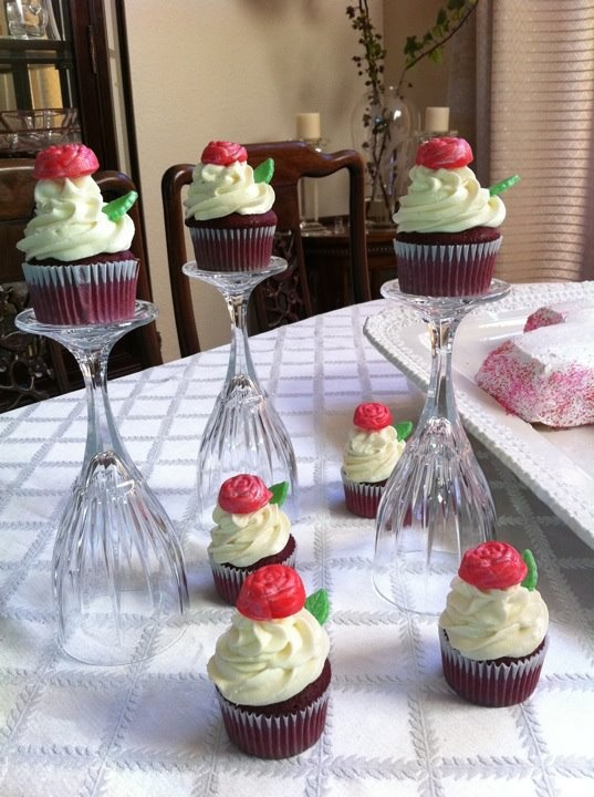 Upside Down Wine Glasses As Cupcake Holders Party Ideas