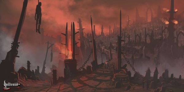 Hellraid concept art depicts a surreal twisted Hell