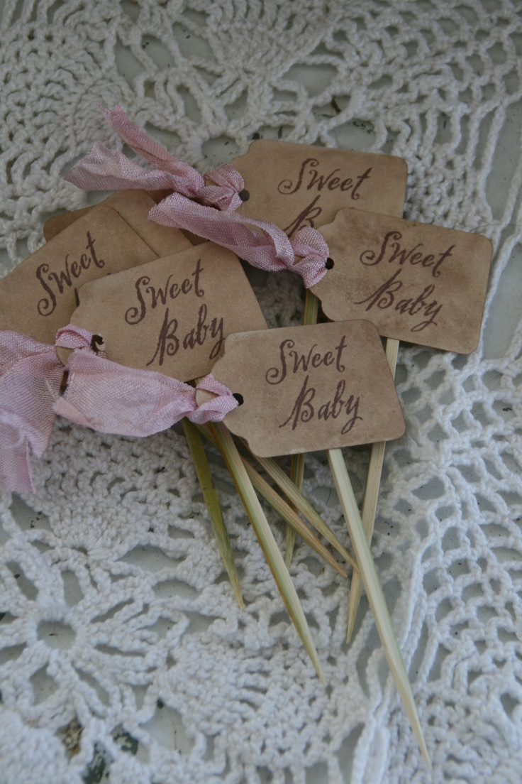 CUPCAKE TOPPERS- Sweet Baby – baby shower,  tea party, buffet table – set of 12.