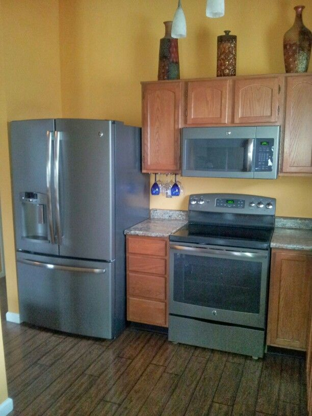 My kitchen with GE slate appliances  Our Home Ideas  Pinterest  Slate appliances Slate and
