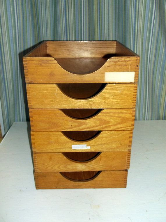 Vintage Wooden Letter Trays Desk Organizers In  Out Box