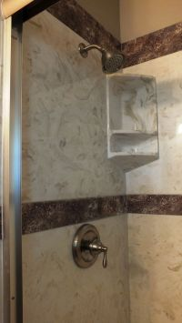 Cultured Marble Tub to Shower Conversion Burnt Almond Wall ...