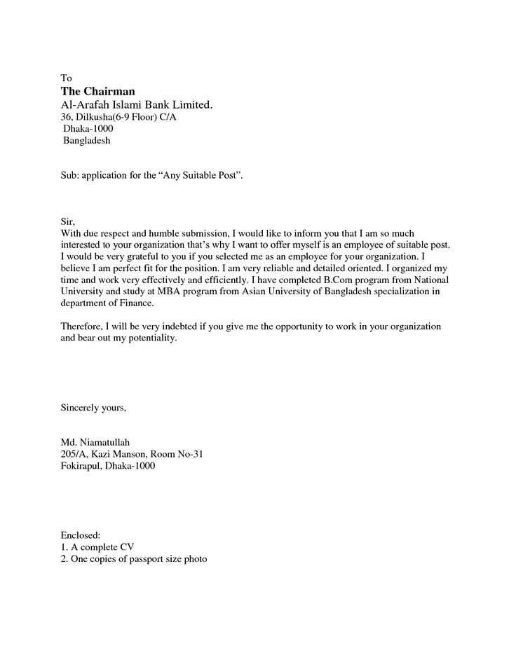 Covering letter job application The covering letter