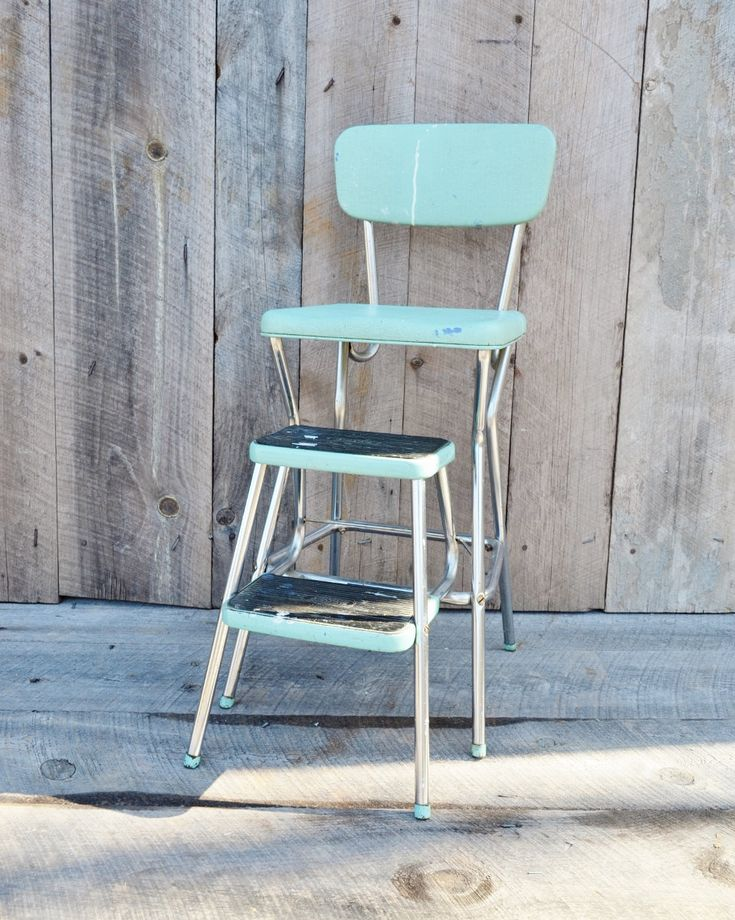 retro chair step stool office ottoman aqua cosco vintage kitchen fold out steps mid century light blue ...