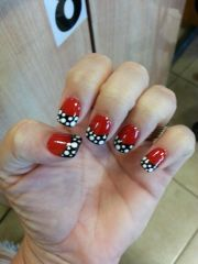 red and black nails with polka