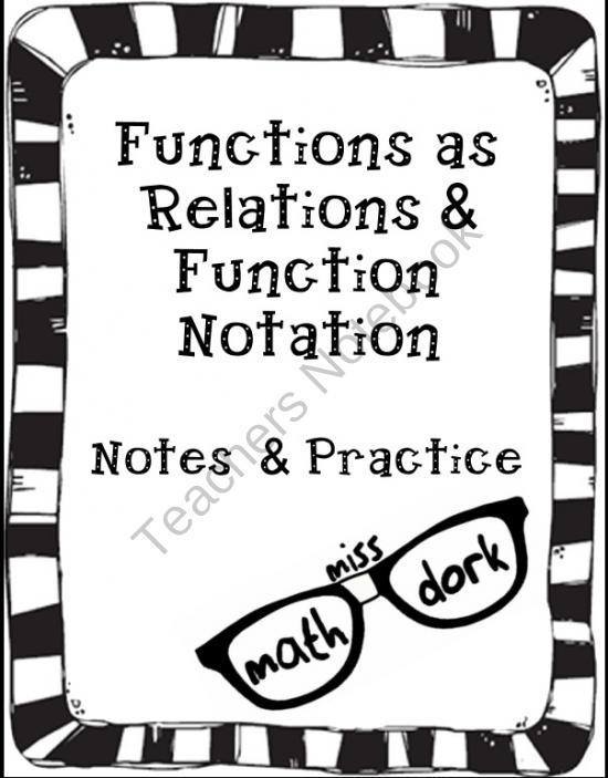 Functions as a Relation AND Function Notation Notes