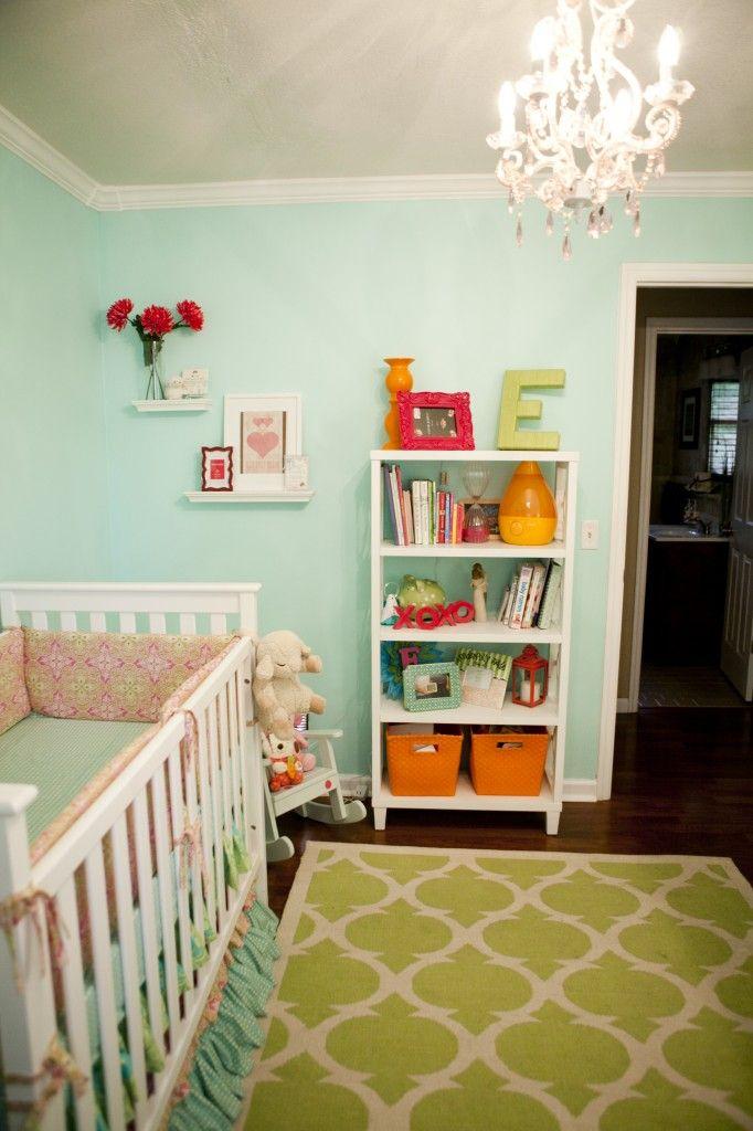 Turquoise Pink Orange  Green Nursery  Paint colors