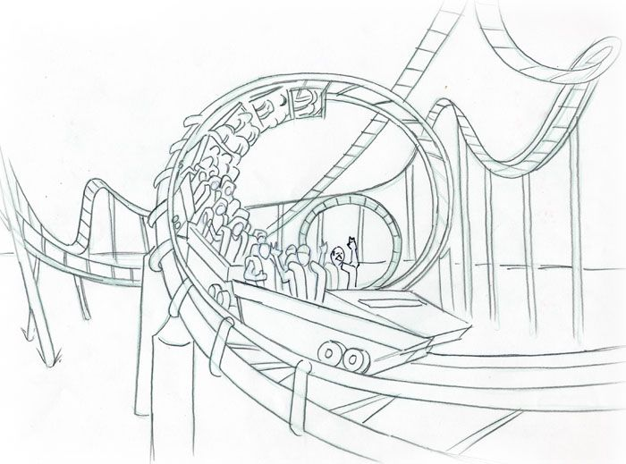 Roller Coaster Tracks Coloring Pages Sketch Coloring Page