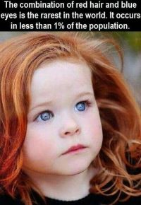 """The combination of red hair and blue eyes is the rarest ..."