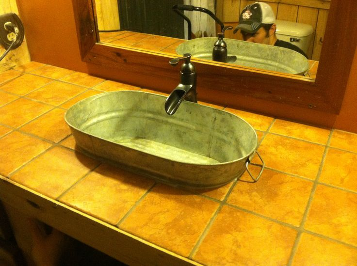 Our new rustic western bathroom sink  faucet  New Home ideas  Pinterest  Rustic bathrooms