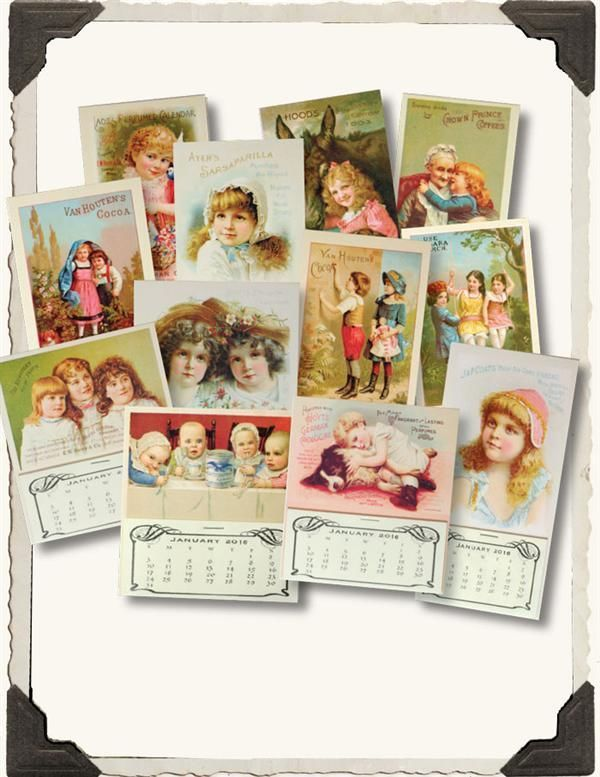 Victorian 2016 Mini Calendars Magnetsset Of 12 Minis