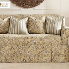 Ebay Large Chair Covers Slipcover For And Ottoman Fanciful Floral By Waverly™ One Piece Slipcovers: A Charming Flourish Of Leaves Blooms ...
