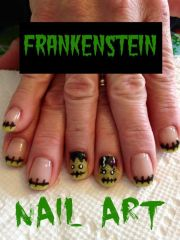 frankenstein nail art halloween