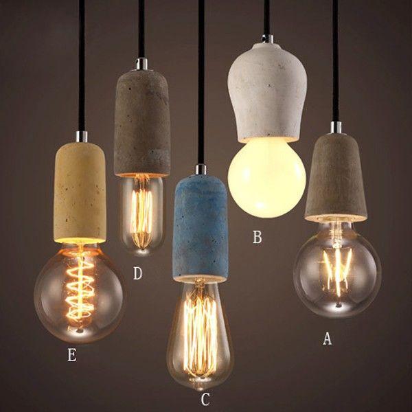 kitchen island light fixture rv faucets rustic concrete exposed edison bulb mini pendant ...