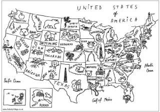 US map coloring page: Detail Coloring, Coloring Pages Kid