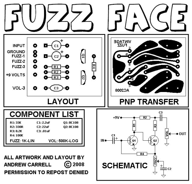 fuzz face wiring diagram 99 ford radio vintage style - silicon | guitar pedals pinterest vintage, and album