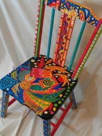 Hand Painted Abstract OOAK Functional Art Chair ...