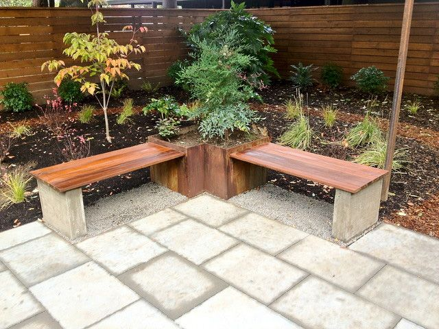 Combines Pavers, Steel Planters, Wood Benches, And Cast-in