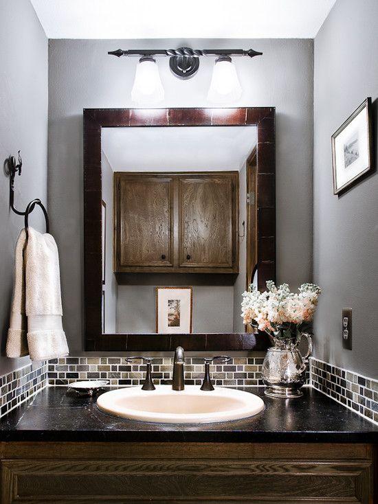 Powder Room Glass Tile Bathroom Backsplash Gray Design Pictures Remodel Decor and Ideas  For