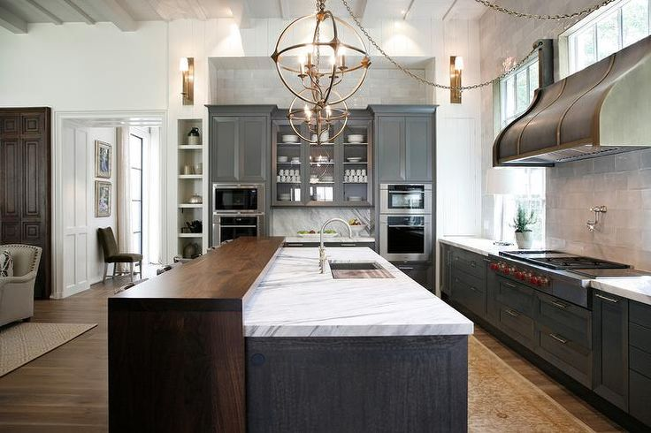 Stunning Kitchen Features Charcoal Gray Shaker Cabinets Paired With Calacatta Ondulato Marble