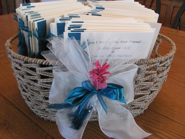 Decorated basket to hold wedding programs  Ashleys Wedding  Pinterest  Wedding Baskets and